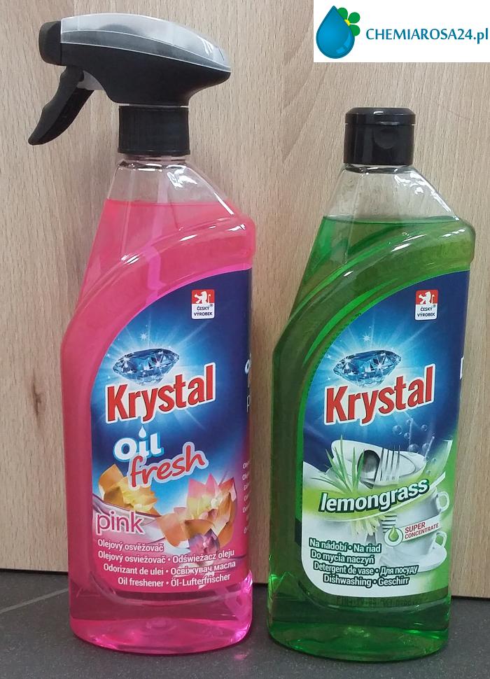 Krystal lemongrass płyn do mycia naczyń i Krystal oil fresh olejowy odświeżacz powietrza
