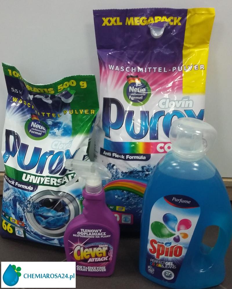 Proszek do prania Purox Color Purox Universal żel do prania Spiro odplamiacz Clever Attack